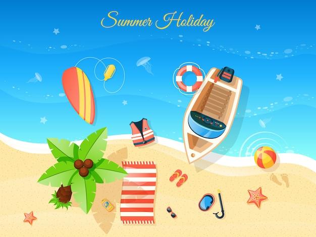 Playa vista superior ilustración vector gratuito