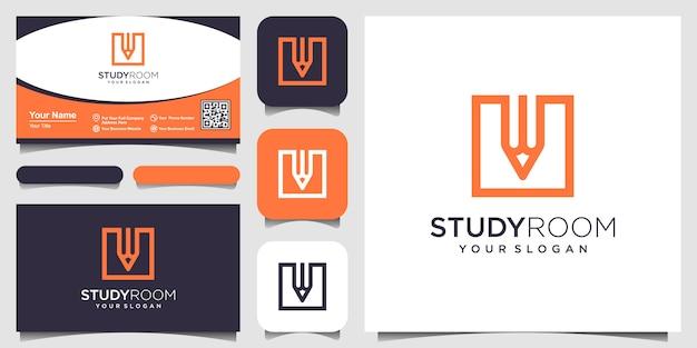 Plaza creativa con la inspiración del logotipo del concepto de lápiz. y diseño de tarjetas de visita Vector Premium