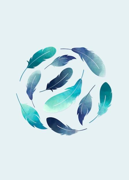 Plumas flotantes azules vector gratuito