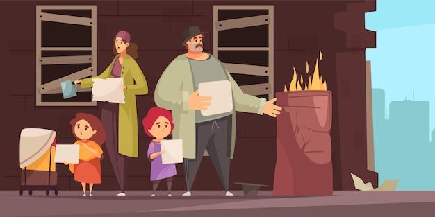 Pobre hombre familia con 2 niños pequeños pidiendo dinero para comida en la calle plana horizontal vector gratuito