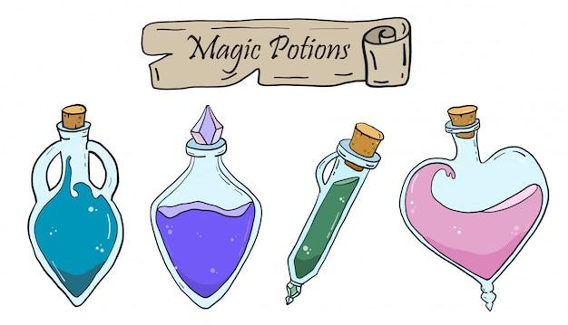 Pociones de vectores mágicos Vector Premium
