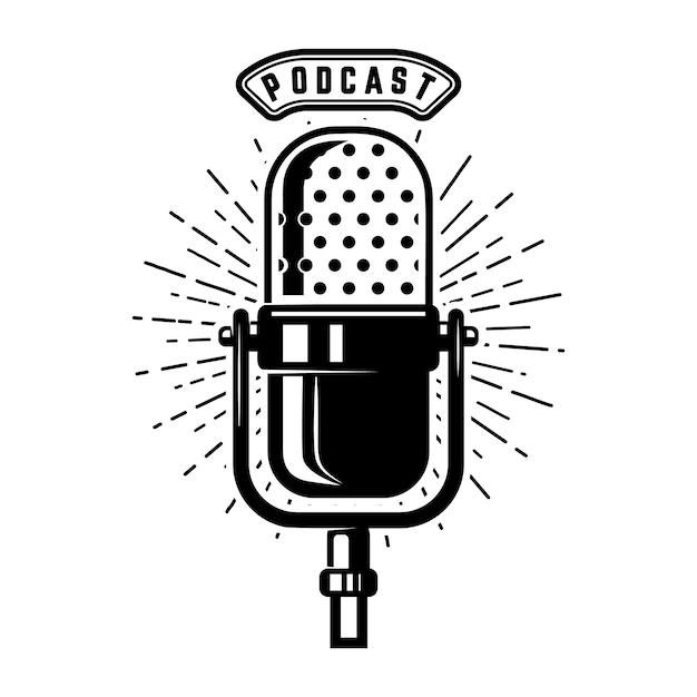 Podcast. micrófono retro sobre fondo blanco. elemento de emblema, signo, logotipo, etiqueta. ilustración Vector Premium
