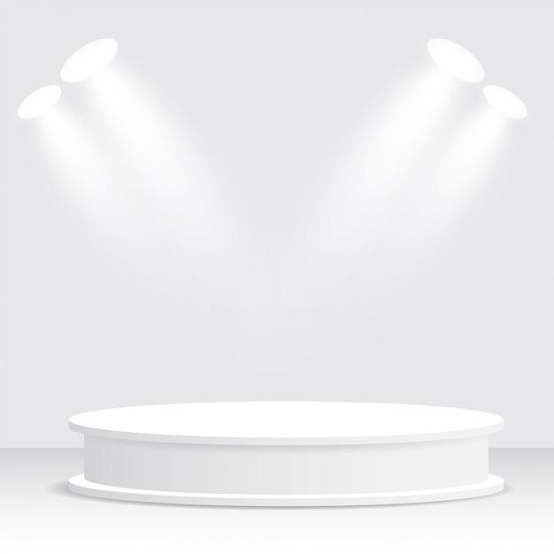 Podio blanco, pedestal, plataforma, proyector Vector Premium