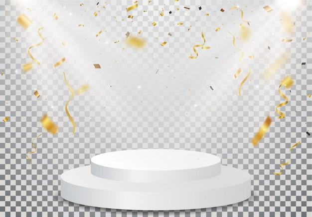 Podio ganador con la celebración de confeti dorado en transparente. Vector Premium