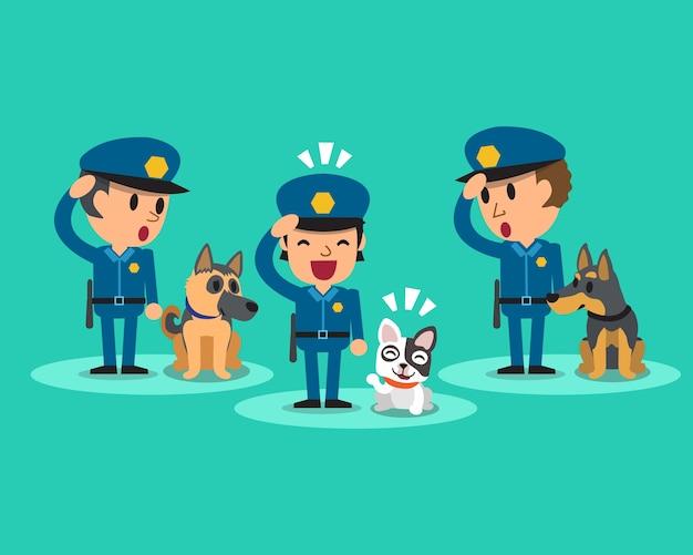 Policías De Guardia De Seguridad De Dibujos Animados Con
