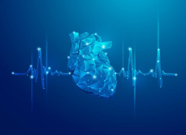 Polígono corazón y pulso Vector Premium