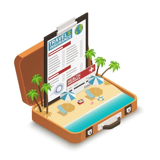 Póliza de seguro de viaje isométrica vector gratuito
