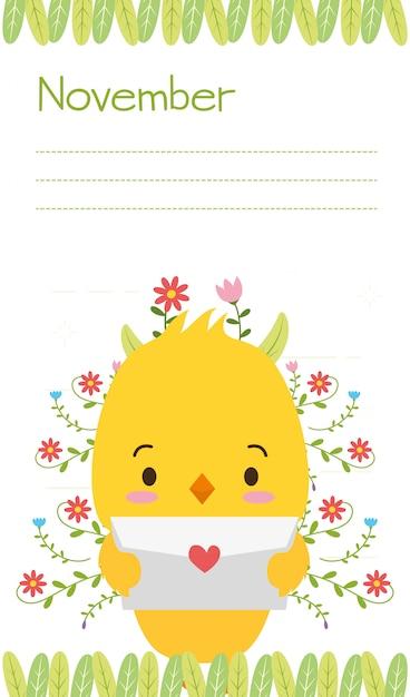 Polluelo con carta de amor, animales lindos, estilo plano y de dibujos animados, ilustración vector gratuito