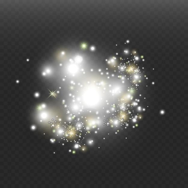 El polvo del espacio, sobre un fondo transparente. fascinantes destellos de estrellas, polvo brillante. Vector Premium