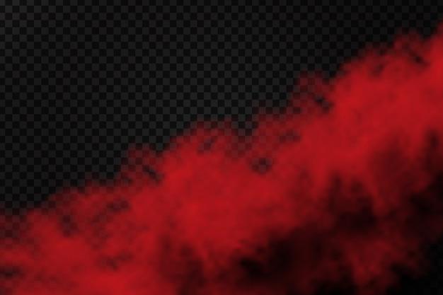 Polvo de humo rojo realista para decoración y revestimiento en el fondo transparente. Vector Premium