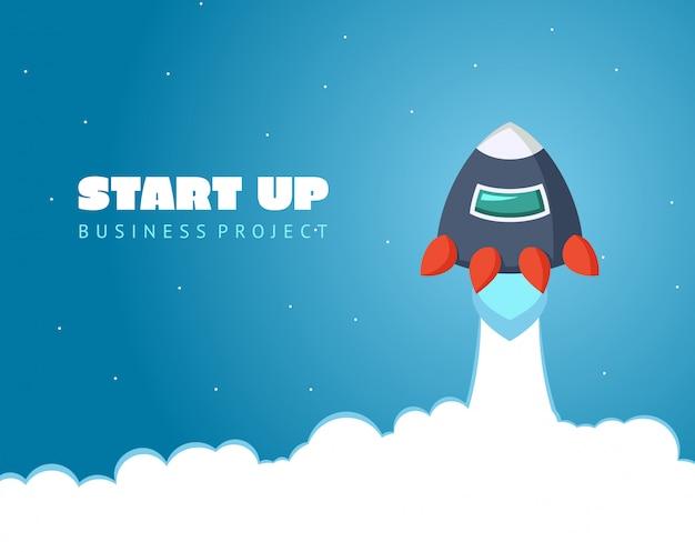 Poner en marcha el espacio conceptual con cohetes y planetas. diseño web Vector Premium