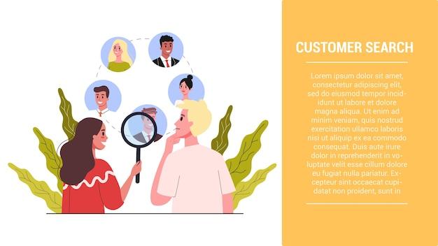 Poner en marcha la idea de los pasos. fase de búsqueda de clientes. estrategia de retención de clientes. construcción de estrategia empresarial. ilustración Vector Premium