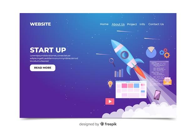 Poner en marcha el tema del espacio de la página de destino vector gratuito