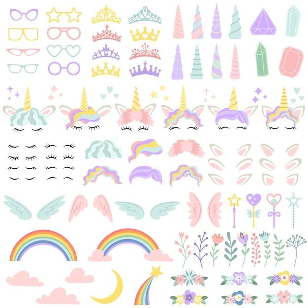 Pony elementos de cara de unicornio. bonito peinado, cuerno mágico y pequeña corona de hadas. conjunto de ilustración de vector creativo cabeza de unicornios Vector Premium