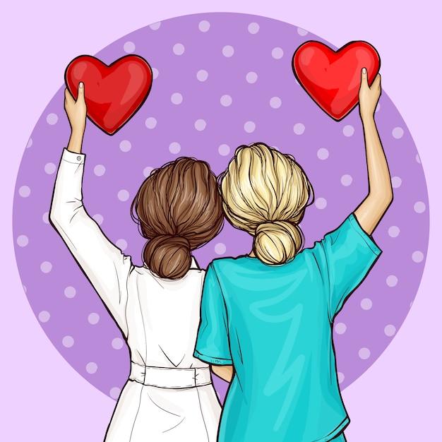 Pop art doctor y enfermera con corazones rojos vector gratuito