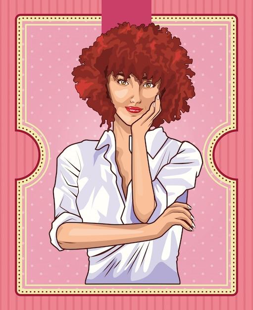 Pop art hermosa mujer dibujos animados Vector Premium