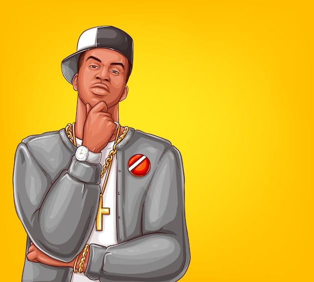 Pop art rap, personaje masculino de hip-hop. vector gratuito