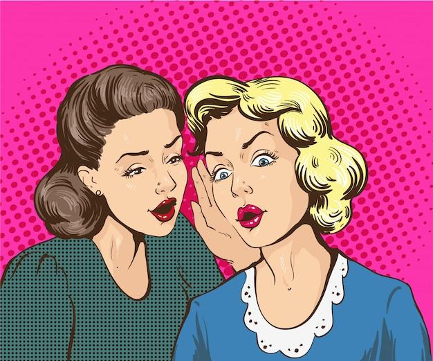 Pop art retro ilustración cómica. mujer susurrando chismes o secretos a su amiga Vector Premium
