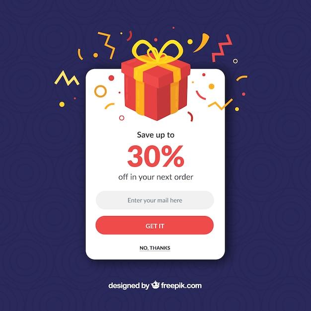 Pop up de promoción colorido con diseño plano vector gratuito