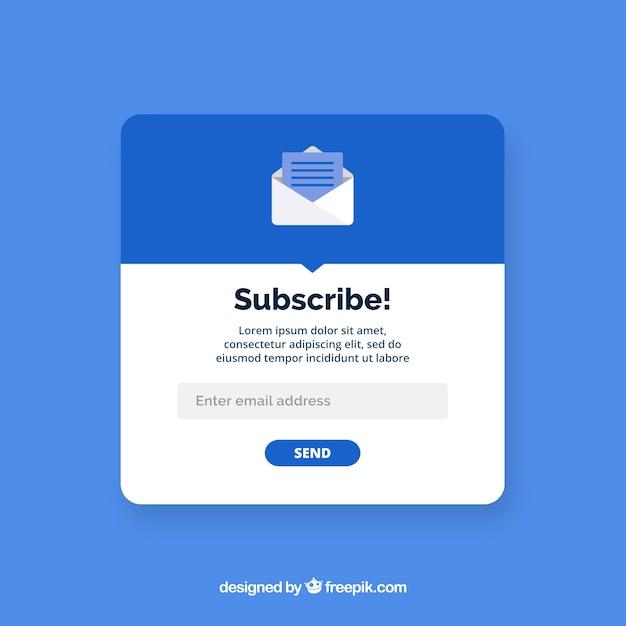 Pop up de suscripción moderno con diseño plano vector gratuito