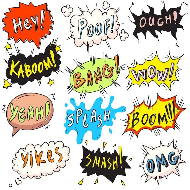 Popart burbuja cómica. bocadillo de diálogo cómico popart divertido cómico en fondo blanco. emoción y efecto de sonido, ruido, retumbar, zumbido, crujir, chocar colorida ilustración del icono de etiqueta Vector Premium