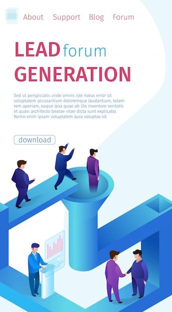 Popular lead forum generación vertical banner. Vector Premium