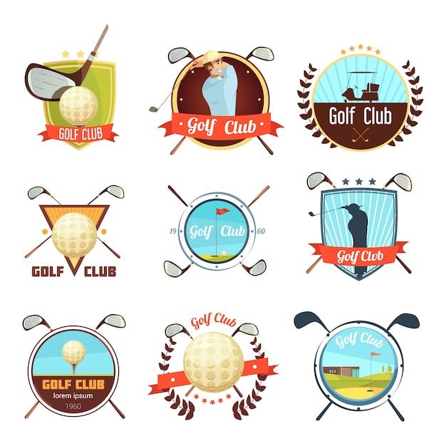 Populares palos de golf, colección de etiquetas de estilo retro con bolsa de pelota y jugador en el campo. vector gratuito