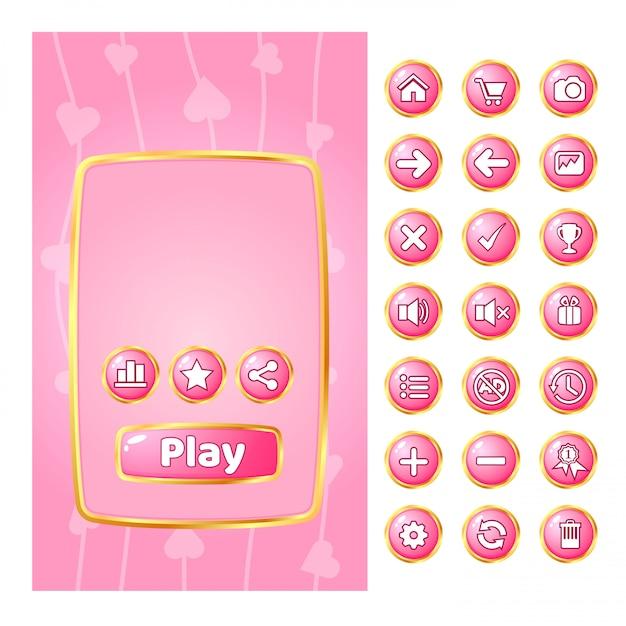 Popup ui para juegos con borde dorado y botón gui. Vector Premium