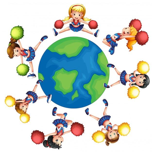Porristas bailando alrededor del mundo. vector gratuito