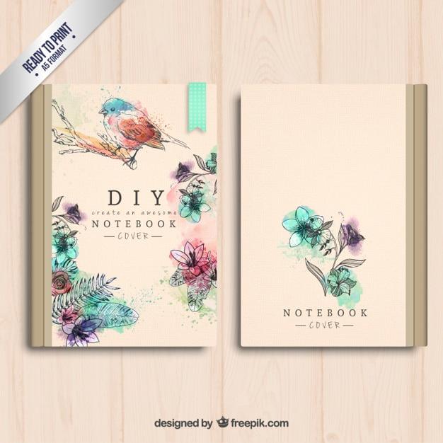 Book Cover Portadas S : Portada del cuaderno pintada a mano descargar vectores