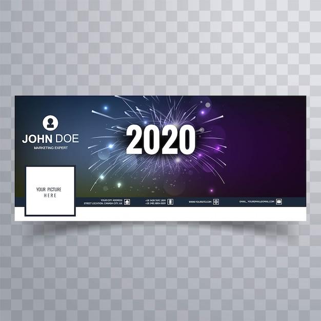Portada de facebook de feliz año nuevo 2020 vector gratuito