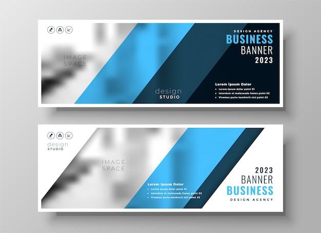 Portada de facebook de negocios profesional azul moderno o conjunto de encabezado de dos vector gratuito