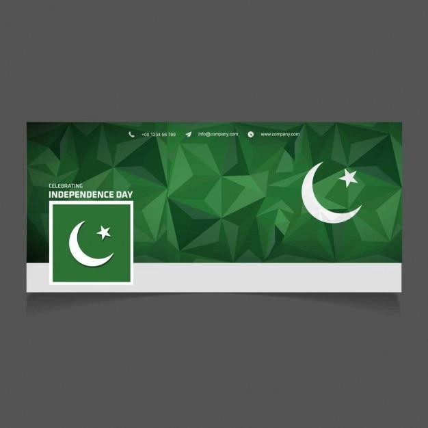Portada de facebook poligonal del día de independencia de pakistán vector gratuito