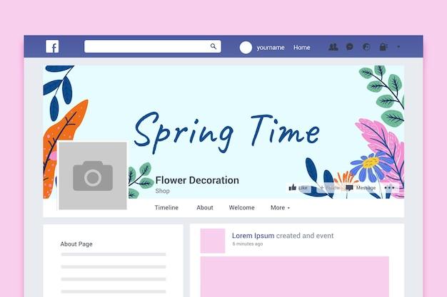 Portada de facebook de primavera colorida floral vector gratuito