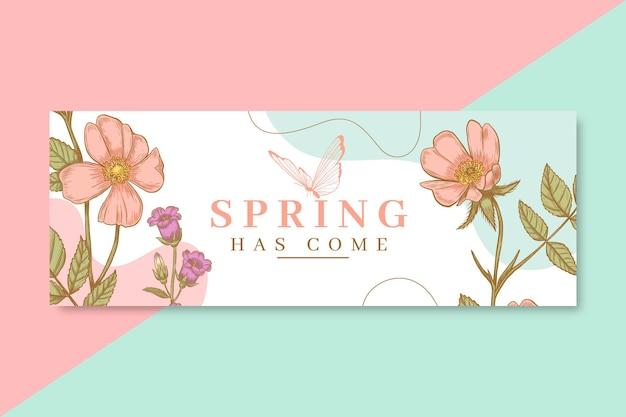 Portada de facebook de primavera realista dibujada a mano vector gratuito