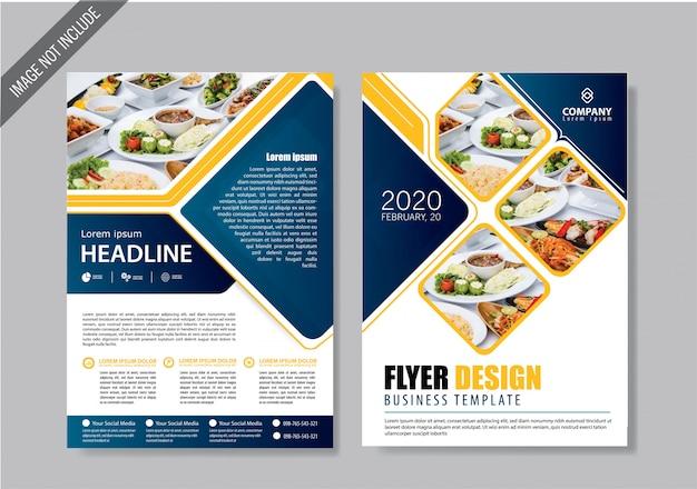 Portada del folleto y plantilla de folleto para el informe anual. Vector Premium