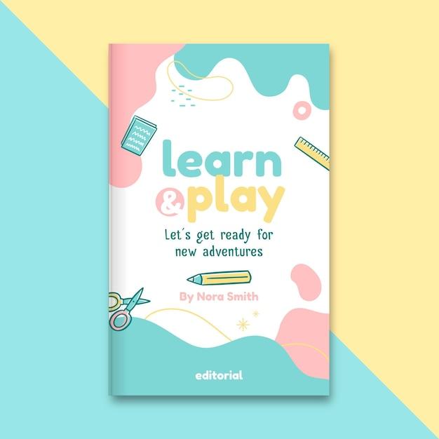 Portada de libro de educación infantil abstracta vector gratuito