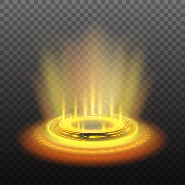 Portal mágico circular realista con corrientes de luz amarilla y destellos ilustración vector gratuito