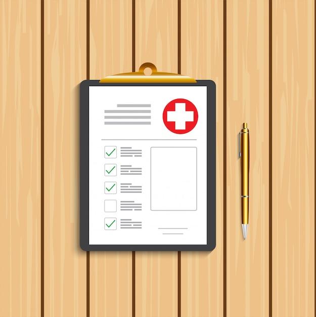 Portapapeles con cruz médica y bolígrafo dorado. registro clínico, prescripción, reclamo, informe de marcas de verificación médica, conceptos de seguro de salud. calidad premium. Vector Premium