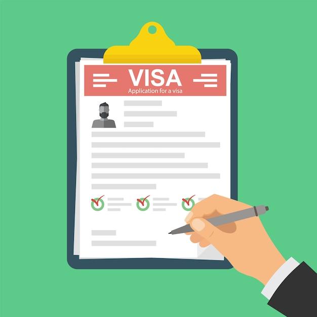 Portapapeles con solicitud de visa. Vector Premium