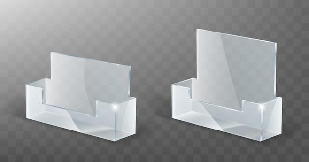 Portatarjetas de acrílico, soporte de exhibición de vidrio plástico vector gratuito