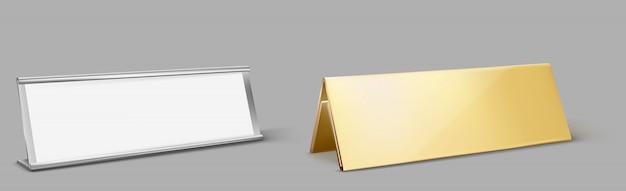 Portatarjetas de mesa de metal, placa dorada vacía vector gratuito