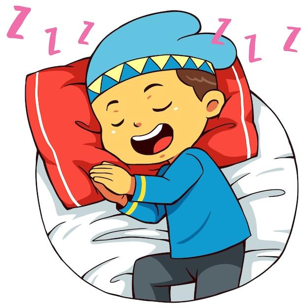 Pose de sueño del personaje musulmán. Vector Premium