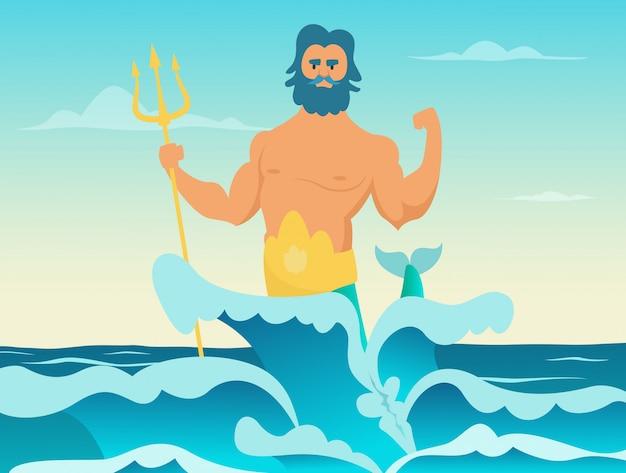 Poseidon dios griego del mar Vector Premium