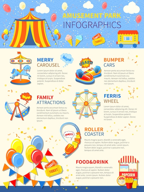 Posible infografía del parque de atracciones. vector gratuito