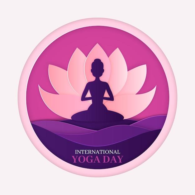 Posición de loto yoga en estilo papel vector gratuito