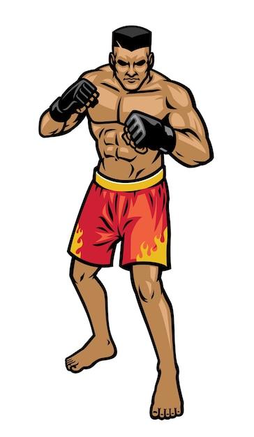 Posición de postura de luchador de mma aislado en blanco Vector Premium