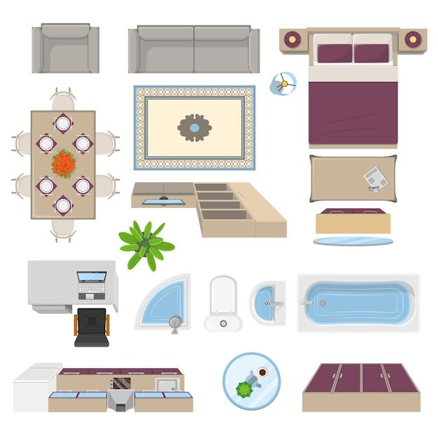 Posición de vista superior de elementos interiores vector gratuito