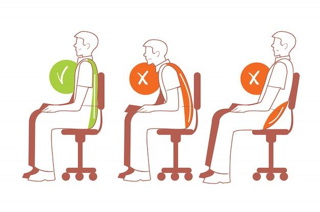 Posiciones sentadas, postura correcta de la columna vertebral Vector Premium