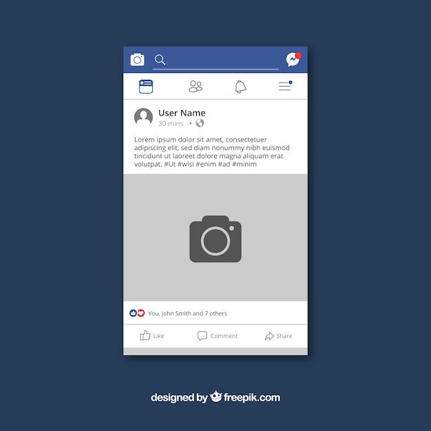 Post de facebook en el móvil con diseño plano Vector Premium